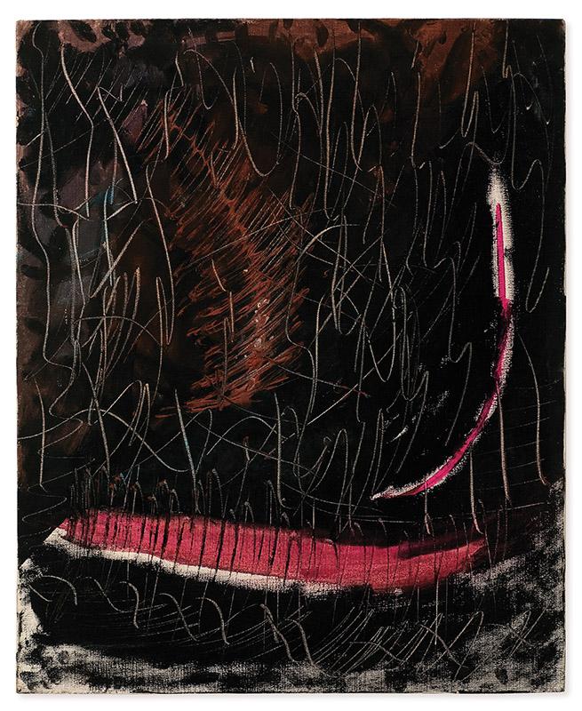 Sem título, s/d acrílica, guache e ponta seca sobre tela 60 × 50 cm