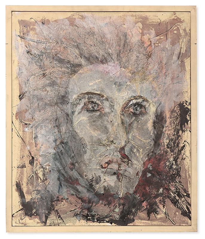 Apolo, 1992 acrílica, papel e cabelo sobre tela 63,5 × 53,5 cm