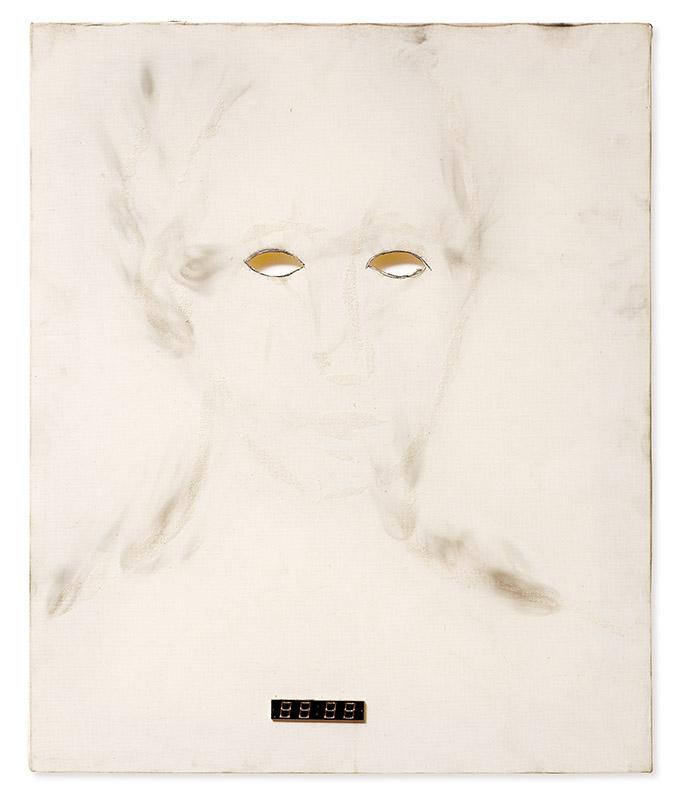 Os olhos, s/d fuligem, grafite, recorte e plástico sobre tela 60 × 50 cm