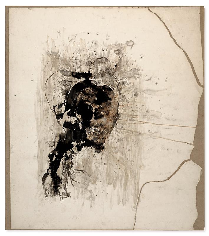 Sem título, 1994 nanquim, pastel e tinta cintilante sobre papel colado sobre tecido 203,5 × 180 cm