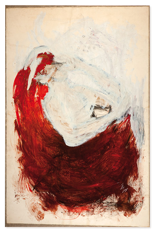 Parto, 1994 acrílica e pastel sobre papel colado sobre tecido 258,5 × 159 cm