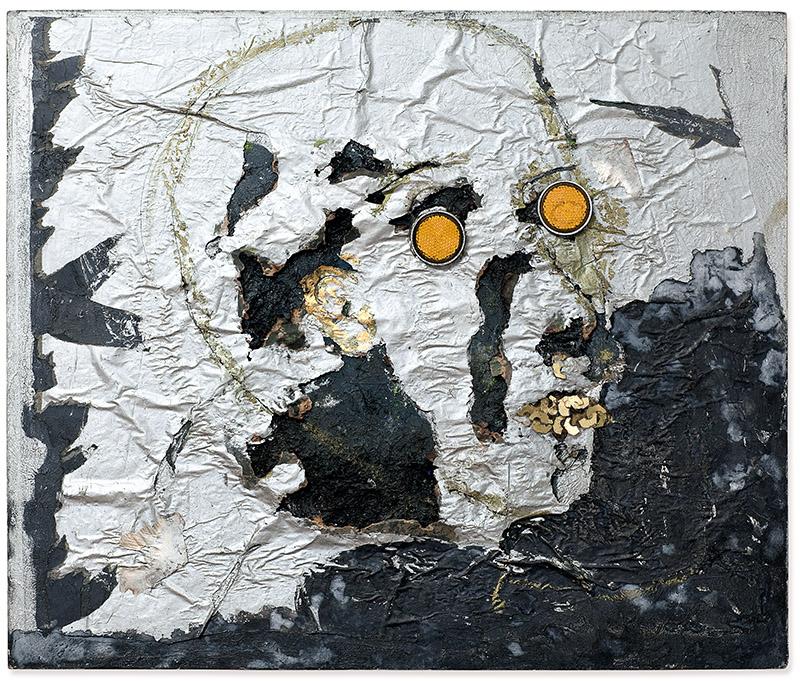 Sem título, 1996 papel, fio, cola, tinta acrílica, refletores olhos de gato e assemblage sobre tela 50 × 60 cm