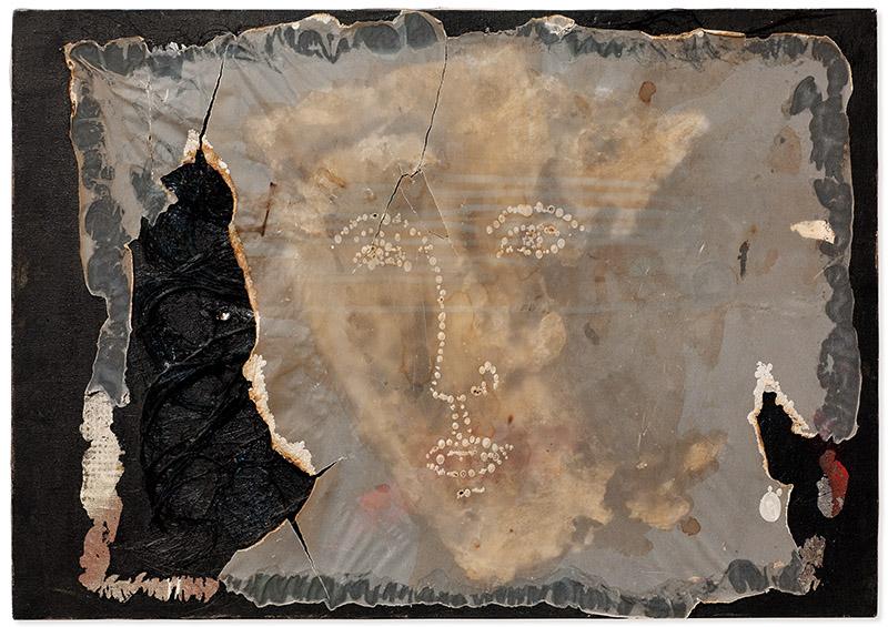 Sem título, 1996 fios de linha, acrílica, cera, papel vegetal queimado e colado sobre tela 50 × 70 cm