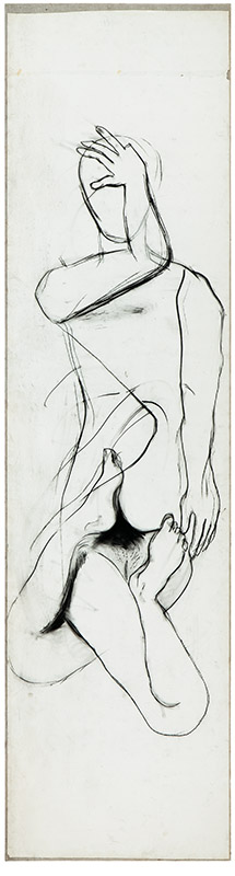 Dedo cortado, c. 1998 carvão sobre papel sobre tela 394 × 104 cm