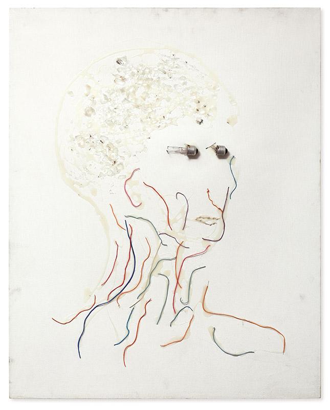 A matéria do retrato, 1996 Lâmpada, fio e cola branca sobre tela 100 × 80 cm
