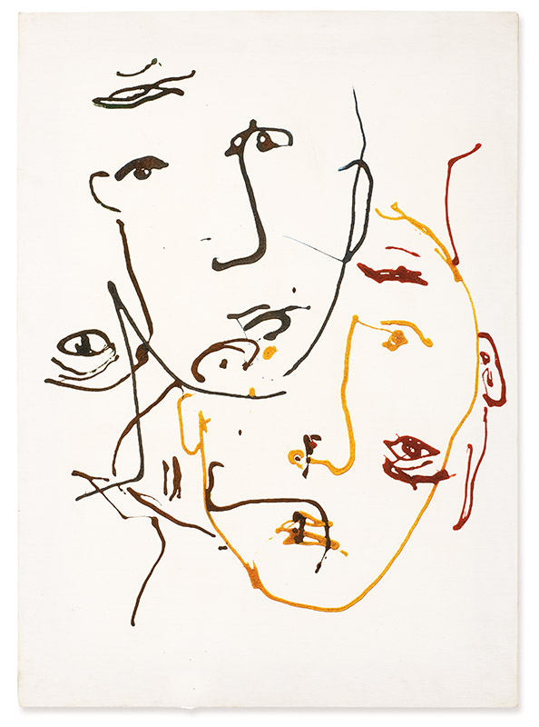 Sem título, s/d acrílica, lápis de cor e areia sobre tela 70 × 50 cm