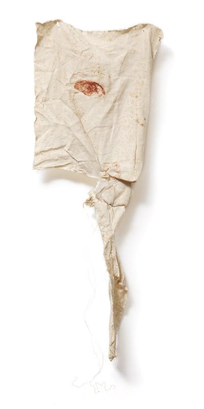 Sem título, 2001 fio de cobre bordado sobre tecido 78 × 21 × 5 cm