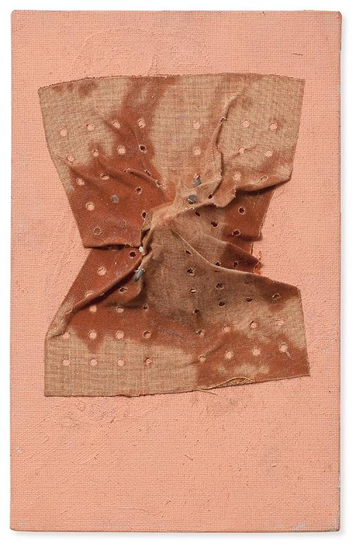 Sem título, s/d metal, plástico, resina, acrílica sobre madeira (tampa de caixa acústica) 49 × 40 cm